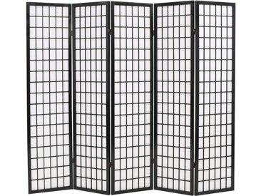 Cloison de séparation 5 panneaux Style japonais 200x170 cm Noir - vidaXL