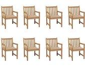 Chaises de jardin 8 pcs avec coussins beige Bois de teck massif - vidaXL