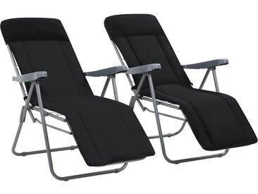 Chaises pliables de jardin avec coussins 2 pcs Noir - vidaXL