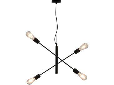 Plafonnier avec ampoules à filament 2 W Noir E27 - vidaXL