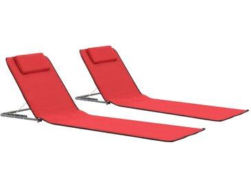 Tapis de plage pliables 2 pcs Acier et tissu Rouge - vidaXL