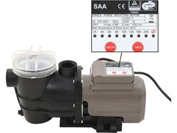 Pompe de piscine avec minuterie Noir 0,25 CH  8000 l / h - vidaXL