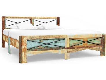 Cadre de lit Bois de récupération massif 140 x 200 cm  - vidaXL