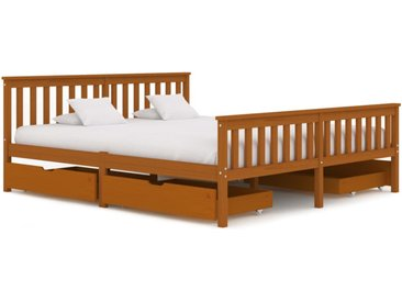 Cadre de lit avec 4 tiroirs Marron miel Bois de pin 180x200 cm - vidaXL