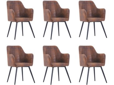 Chaises de salle à manger 6 pcs Marron Similicuir daim - vidaXL