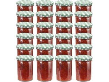 24 pcs Pots à confiture Couvercle blanc et vert Verre 400 ml - vidaXL