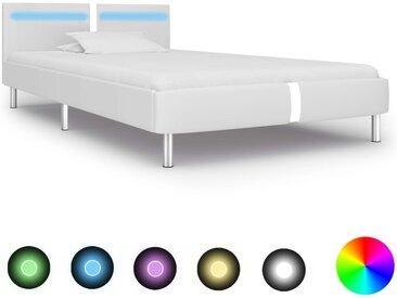 Cadre de lit avec LED Blanc Similicuir 90 x 200 cm - vidaXL
