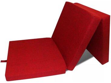 Matelas en mousse pliable en 3 sections 190 x 70 x 9 cm Rouge  - vidaXL