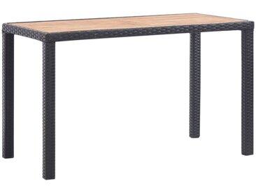 Table de jardin Noir et marron 123x60x74cm Bois d'acacia solide - vidaXL