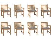 Chaises de jardin 8 pcs avec coussins gris Bois de teck massif - vidaXL