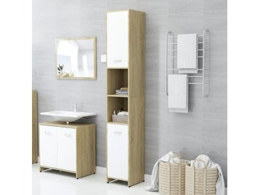 Armoire de bain Blanc et chêne sonoma 30x30x183,5 cm Aggloméré - vidaXL