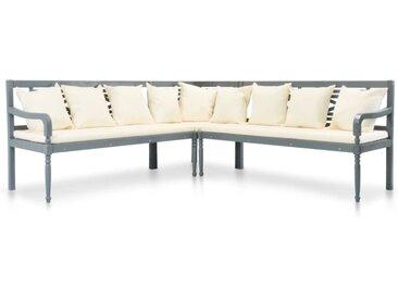 Canapé de jardin 3 pcs avec coussins Bois d'acacia solide Gris - vidaXL