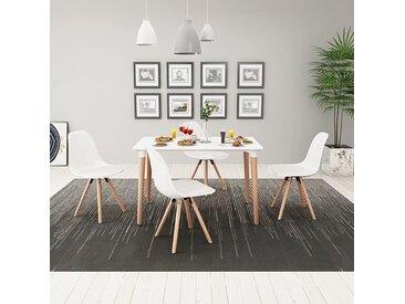 Ensemble de table et de chaises 5 pièces Blanc - vidaXL