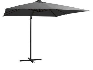 Parasol déporté avec LED et mât en acier 250x250 cm Anthracite - vidaXL