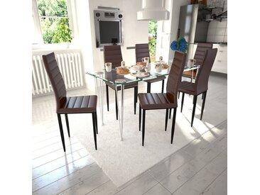 Lot de 6 chaises marron aux lignes fines avec une table en verre - vidaXL