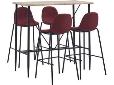 Ensemble de bar 5 pcs Tissu Rouge bordeaux - vidaXL