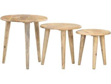 Tables gigognes 3 pcs Bois solide de manguier - vidaXL