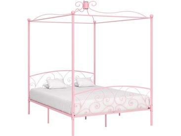 Cadre de lit à baldaquin Rose Métal 160 x 200 cm - vidaXL