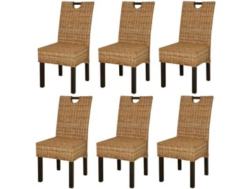 Chaises de salle à manger 6 pcs Rotin Kubu Bois de manguier - vidaXL