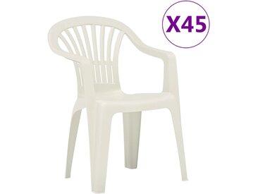 Chaises empilables de jardin 45 pcs Plastique Blanc - vidaXL