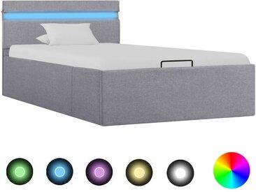 Cadre de lit à stockage avec LED Gris clair Tissu 100x200 cm  - vidaXL
