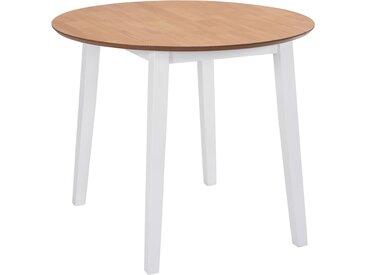 Table de salle à manger ronde à abattant MDF Blanche - vidaXL