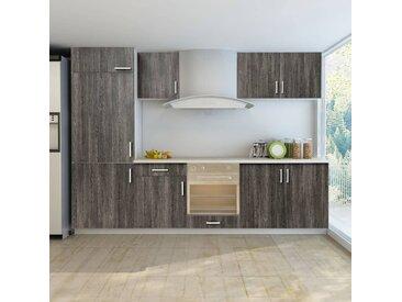 Jeu d'armoires de cuisine avec frigo encastré 7 pcs Wengé  - vidaXL