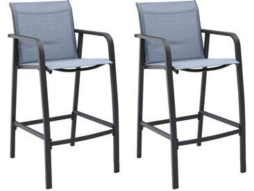 Chaises de bar de jardin 2 pcs Gris Txtilène - vidaXL