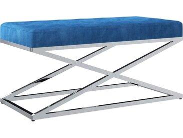 Banc 97 cm Bleu Tissu de velours et acier inoxydable - vidaXL