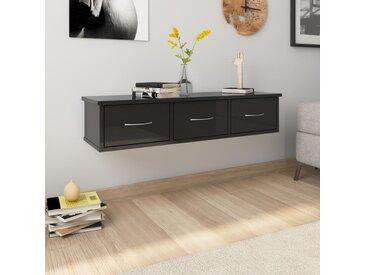 Étagère murale et tiroirs Noir brillant 90x26x18,5 cm Aggloméré - vidaXL