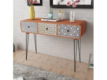 Table console avec 3 tiroirs Marron  - vidaXL