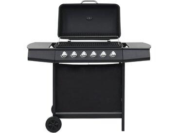 Barbecue au gaz avec 6 zones de cuisson Acier Noir - vidaXL
