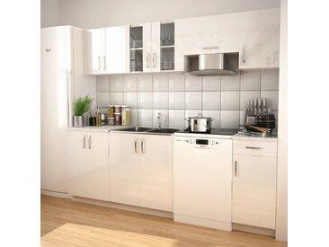 Ensemble d'armoires de cuisine 7 pcs avec hotte Blanc brillant - vidaXL