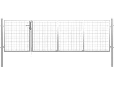Portillon Acier 350x100 cm Argenté - vidaXL