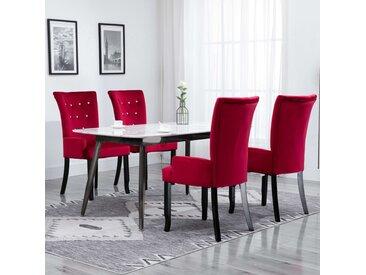 Chaise de salle à manger avec accoudoirs 4 pcs Rouge Velours - vidaXL