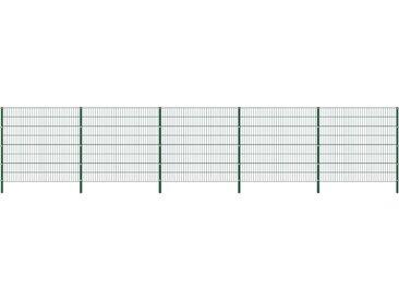 Panneau de clôture avec poteaux Fer 8,5 x 1,6 m Vert - vidaXL