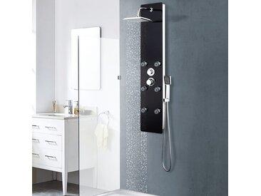 Panneau de douche Verre 25 x 44,6 x 130 cm Noir - vidaXL