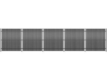 Panneau de clôture 5 pcs Aluminium 900 x 180 cm Anthracite - vidaXL