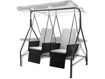 Balancelle noire 2 places avec fauteuils inclinables en ploryrotin - vidaXL