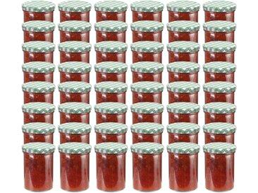 48 pcs Pots à confiture Couvercle blanc et vert Verre 400 ml - vidaXL