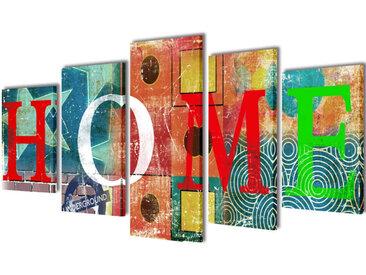 Set de toiles murales imprimées Home coloré 200 x 100 cm - vidaXL