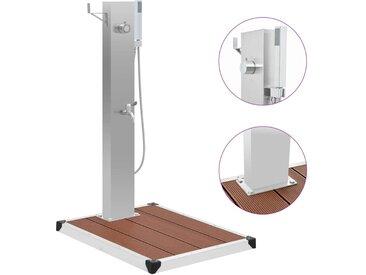 Douche d'extérieur avec receveur de douche WPC Acier inoxydable - vidaXL