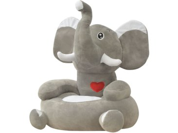 Chaise en peluche pour enfants Éléphant gris - vidaXL