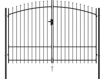 Portillon double porte avec dessus à pointe Acier 3x1,75 m Noir - vidaXL