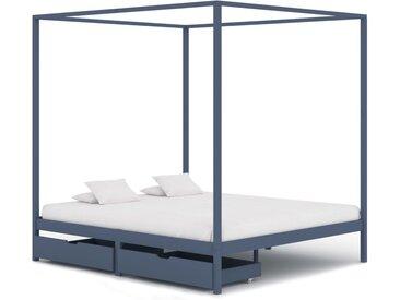 Cadre de lit à baldaquin et 2 tiroirs Gris Pin massif 160x200cm - vidaXL