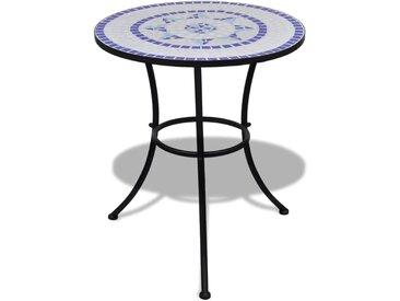 Table de bistro Bleu et blanc 60 cm Mosaïque  - vidaXL
