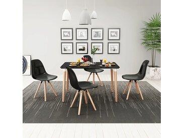 Ensemble de table et chaises de salle à manger 5 pièces Noir - vidaXL