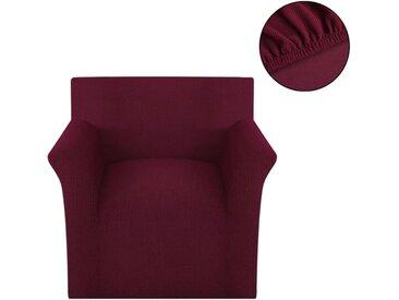 housse de canapé tissu tricoté en polyester extensible bordeau - vidaXL