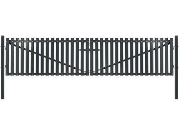 Portail de clôture double porte Acier 400 x 150 cm Anthracite - vidaXL