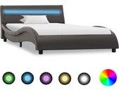 Cadre de lit avec LED Gris Similicuir 100x200 cm    - vidaXL